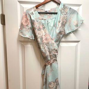 High Low Silk Wrap Dress